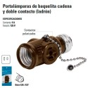 Portalamparas de Baquelita Cadena y Doble Contacto (Ladron)