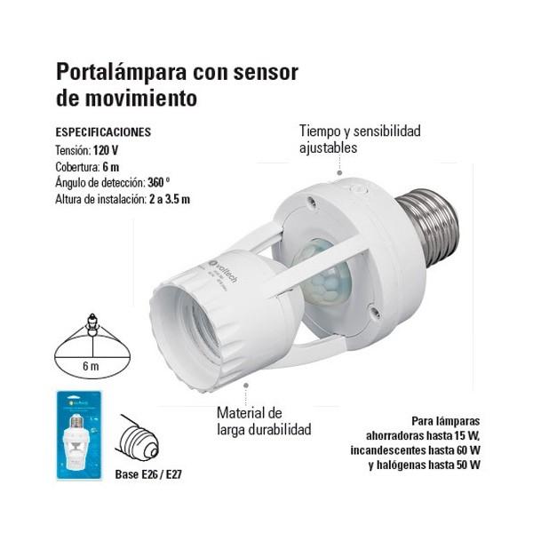 Portalampara con Sensor de Movimiento