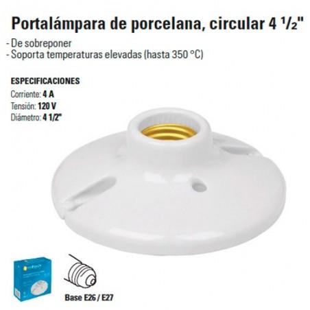 """Portalampara de Porcelana, Circular 4 1/2"""""""