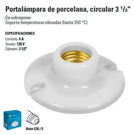 """Portalampara de Porcelana Circular 3 1/2"""""""
