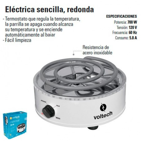 Parrilla Electrica Sencilla Redonda