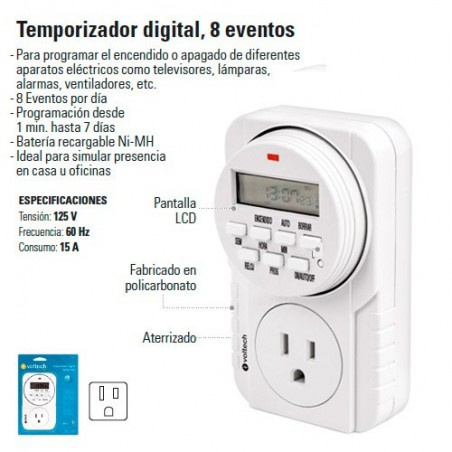 Temporizador Digital 8 Eventos