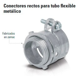 Conector Recto Para Tubo Flexible Metalico