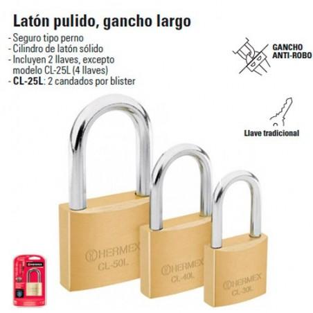 Candado de Laton Pulido Gancho Largo