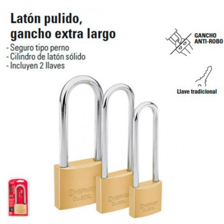 Candado de Laton Pulido Gancho Extra Largo