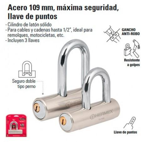 Candado 109 mm Maxima Seguridad Llave de Puntos