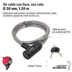 Candado de Cable con Llave Uso Rudo de 20 mm, 1.20 m