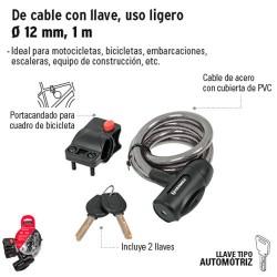 Candado de Cable con Llave de 12 mm, 1 m