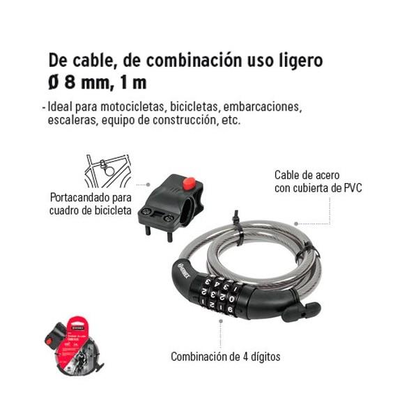 Candado de Cable de Combinacion Uso Ligero de 8 mm 1 m