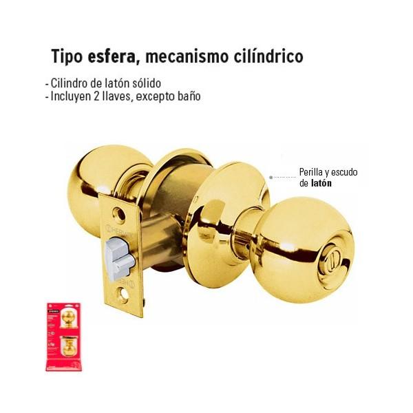 Cerradura de Pomo Tipo Esfera Mecanismo Cilindrico de Laton