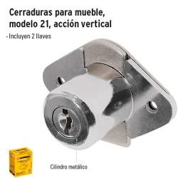 Cerradura para Mueble Modelo Redondo Basico Accion Vertical Cromo