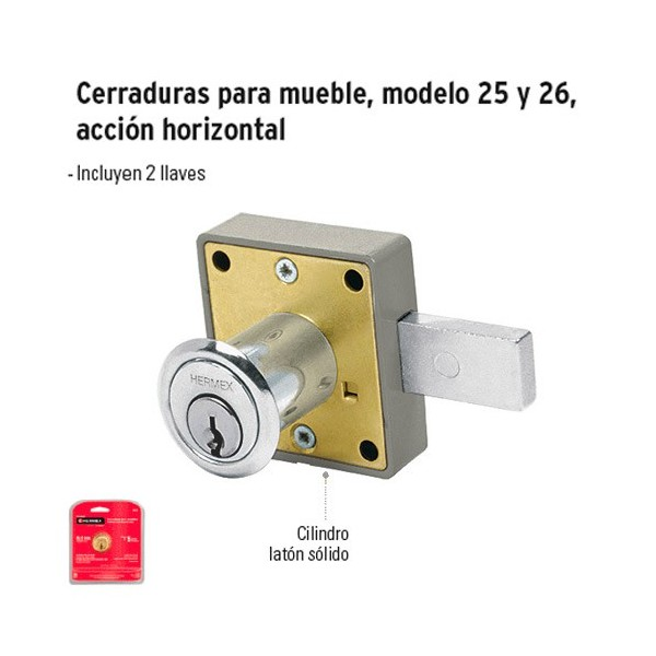 Cerradura para Mueble Accion Horizontal Cilindro 36 mm Cromo