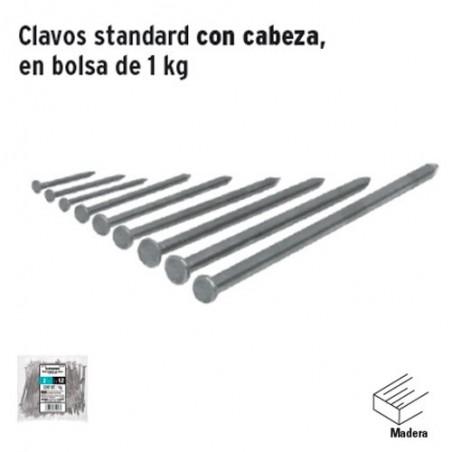 1 Kg de Clavos Standard con Cabeza en Bolsa