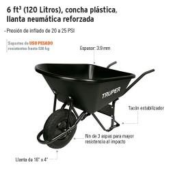 Carretilla 6 ft 3 (120 Litros) Concha Plastica Llanta Neumatica Reforzada