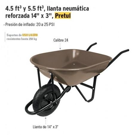"""Carretilla Llanta Neumatica Reforzada 14"""" x 3"""" PRETUL"""
