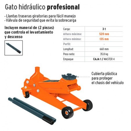 Gato Hidraulico 3 Toneladas Profesional TRUPER