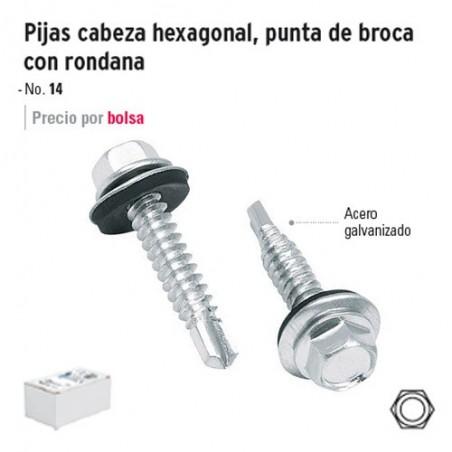 Pija Cabeza Hexagonal Punta de Broca con Rondana FIERO