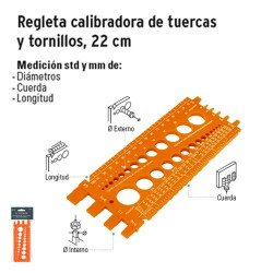 Regleta Calibradora de Tuercas y Tornillos 22 cm TRUPER