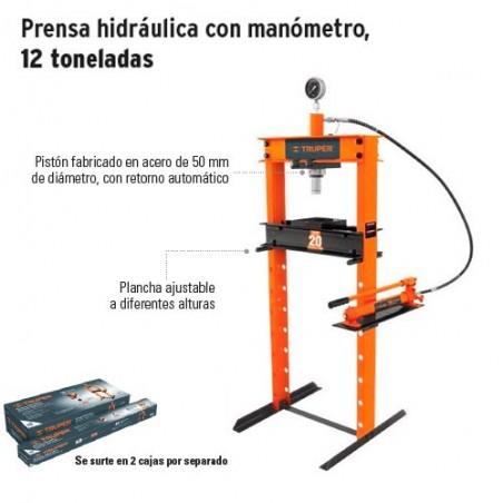 Prensa Hidraulica con Manometro 12 Toneladas TRUPER