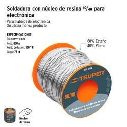 Soldadura con Nucleo de Resina 60/40 para Electronica TRUPER
