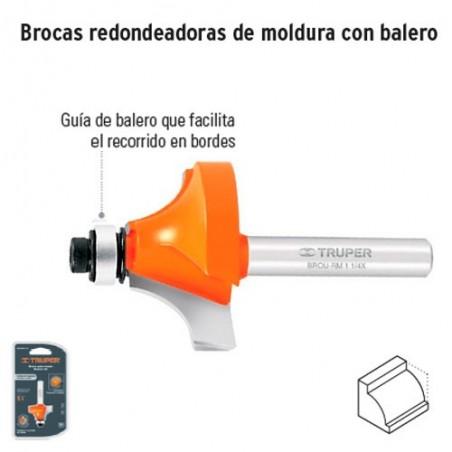 Broca para Router Redondeadora de Moldura con Balero TRUPER