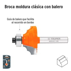 Broca para Router Moldura Clasica con Balero TRUPER