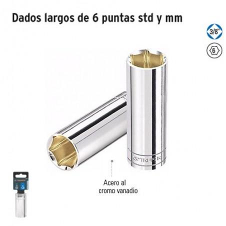 """Dados Largos de 6 Puntas Cuadro 3/8"""" TRUPER"""
