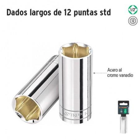 """Dados Largos de 12 Puntas Cuadro 1/2"""" TRUPER"""