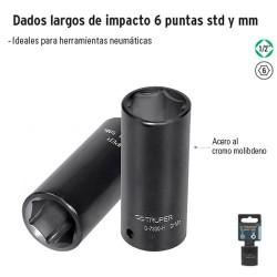 """Dados Largos de Impacto 6 Puntas Cuadro 1/2"""" TRUPER"""