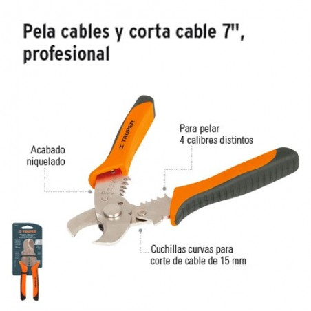 "Pinza Pela Cables y Corta Cable 7"" Profesional TRUPER"