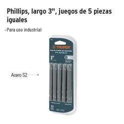 """Punta para Desarmador Phillips Largo 3"""" Juego de 5 Piezas TRUPER"""