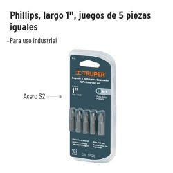 """Punta para Desarmador Phillips Largo 1"""" Juego de 5 Piezas TRUPER"""