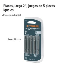 """Punta para Desarmador Plana Largo 2"""" Juego 5 Piezas TRUPER"""