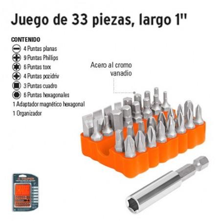 """Puntas Para Desarmador Juego de 33 Piezas Largo 1"""" TRUPER"""