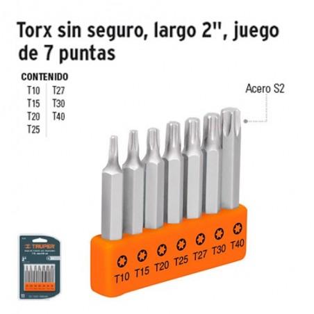"""Puntas Torx Para Desarmador Largo 2"""" sin Seguro Juego de 7 Puntas TRUPER"""