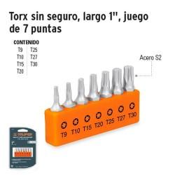 """Puntas Torx Para Desarmador Largo 1"""" sin Seguro Juego de 7 Puntas TRUPER"""
