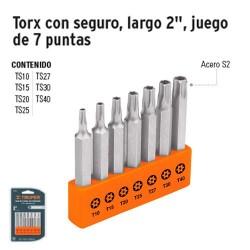 """Puntas Torx Para Desarmador Largo 2"""" con Seguro Juego de 7 Puntas TRUPER"""