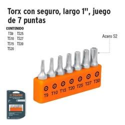 """Puntas Torx Para Desarmador Largo 1"""" con Seguro Juego de 7 Puntas TRUPER"""