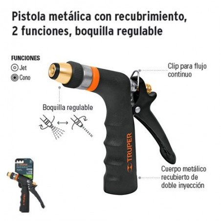 Pistola Metálica con Recubrimiento 2 Funciones Boquilla Regulable TRUPER