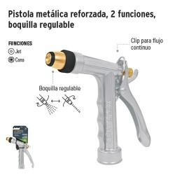 Pistola Metálica Reforzada 2 Funciones Boquilla Regulable TRUPER