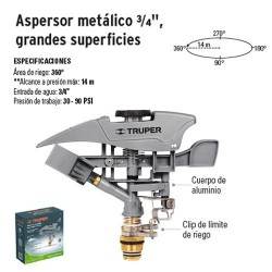 "Aspersor Metálico 3/4"" Grandes Superficies TRUPER"