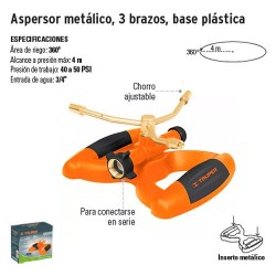 Aspersor Metálico 3 Brazos Base Plástica TRUPER