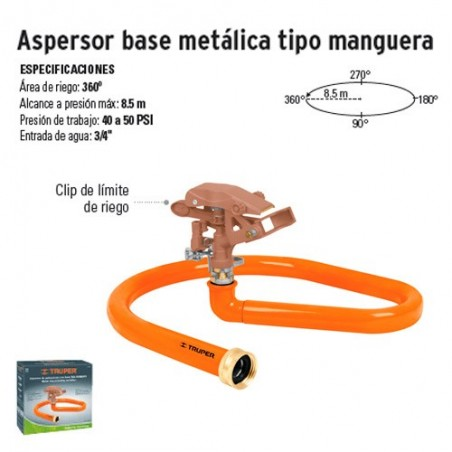 Aspersor Base Metálica Tipo Manguera TRUPER