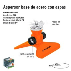 Aspersor Base de Acero con Aspas TRUPER