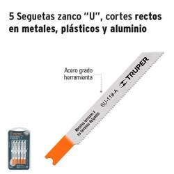 """5 Seguetas Zanco """"U"""" Cortes Rectos en Metales Plásticos y Aluminio TRUPER"""