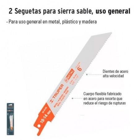 2 Seguetas para Sierra Sable Uso General TRUPER