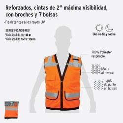 """Chaleco Reforzado Cinta de 2"""" Maxima Visibilidad con Broches y 7 Bolsas TRUPER"""