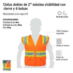 """Chalecos Cintas Dobles de 2"""" Máxima Visibilidad con Cierre y 6 Bolsas TRUPER"""