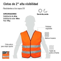 """Chaleco Cintas de 2"""" Alta Visibilidad TRUPER"""