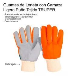 Guantes de Loneta con Carnaza Ligera Puño Tejido TRUPER